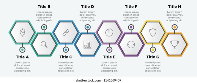 infographic element vector with 8 options hexagon shaped. can be used for timeline, step, process, workflow layout, annual report, business presentation template .