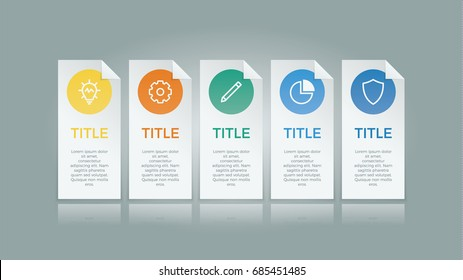 infographic element vector with five number options, use for step, workflow, diagram, banner, process, business presentation template, web design, price list.