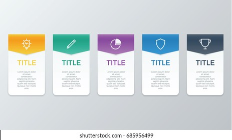 infographic element vector with five number options, use for step, workflow, diagram, banner, process, business presentation template, web design, price list, timeline.