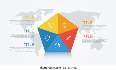 infographic element vector with five number options on world map background, can be used for step, workflow, diagram, banner, process, business presentation template. pentagon shape, light theme.