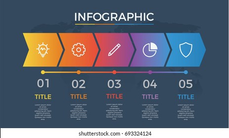 infographic element vector with five number options, can be used for step, workflow, diagram, banner, process, business presentation template, timeline, arrow shaped, dark theme.