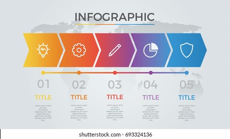 infographic element vector with five number options, can be used for step, workflow, diagram, banner, process, business presentation template, timeline, arrow shaped, light theme.