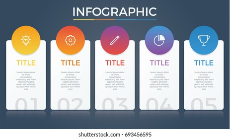 infographic element vector with five number options, can be used for step, workflow, diagram, banner, process, business presentation template, price list, timeline, report. dark theme.