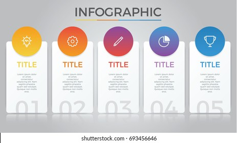 infographic element vector with five number options, can be used for step, workflow, diagram, banner, process, business presentation template, price list, timeline, report. light theme.