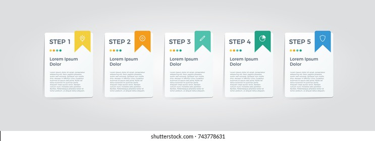 infographic element vector with five options, can be used for step, workflow, diagram, banner, process, business presentation template, web design, price list, timeline, report.