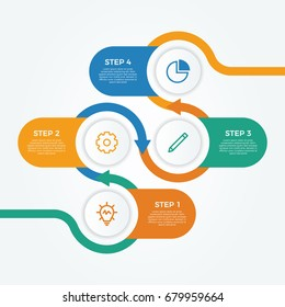 infographic element vector with four number options, use for step, workflow, diagram, banner, process, business presentation