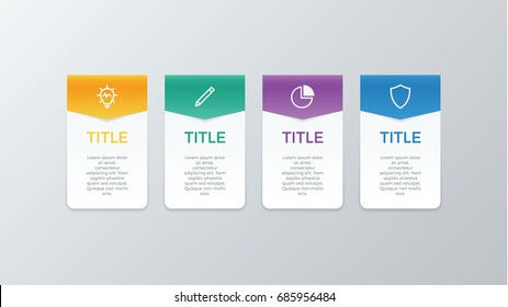 infographic element vector with four number options, use for step, workflow, diagram, banner, process, business presentation template, web design, price list, timeline.