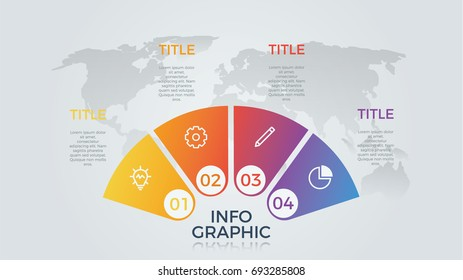 infographic element vector with four number options, can be used for step, workflow, diagram, banner, process, business presentation template, semicircle shape, light theme.