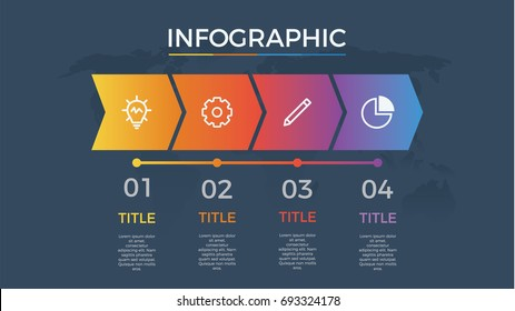 infographic element vector with four number options, can be used for step, workflow, diagram, banner, process, business presentation template, timeline, arrow shaped, dark theme.