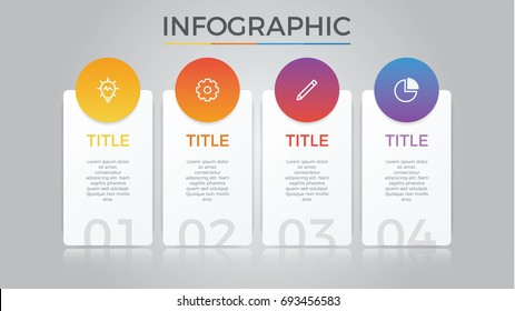 infographic element vector with four number options, can be used for step, workflow, diagram, banner, process, business presentation template, price list, timeline, report. light theme.