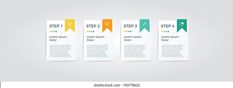 infographic element vector with four options, can be used for step, workflow, diagram, banner, process, business presentation template, web design, price list, timeline, report.