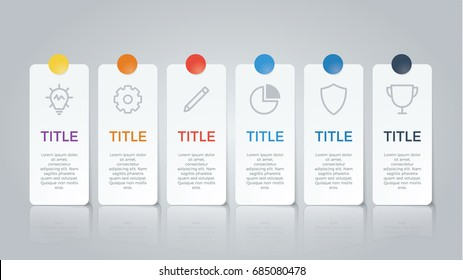 infographic element vector with six number options, use for step, workflow, diagram, banner, process, business presentation template, web design