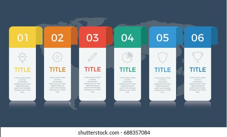 infographic element vector with six number options, can be used for step, workflow, diagram, banner, process, business presentation template, web design, price list, timeline, report. dark theme