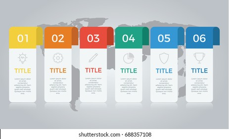 infographic element vector with six number options, can be used for step, workflow, diagram, banner, process, business presentation template, web design, price list, timeline, report. light theme