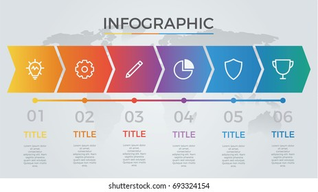 infographic element vector with six number options, can be used for step, workflow, diagram, banner, process, business presentation template, timeline, arrow shaped, light theme.
