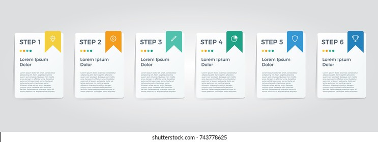 infographic element vector with six options, can be used for step, workflow, diagram, banner, process, business presentation template, web design, price list, timeline, report.