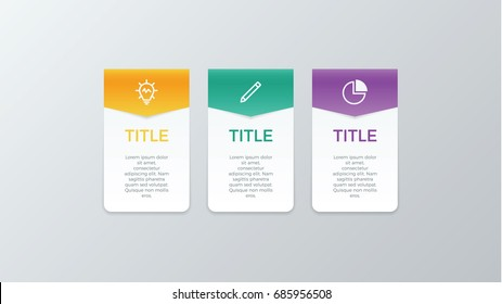 infographic element vector with three number options, use for step, workflow, diagram, banner, process, business presentation template, web design, price list, timeline.