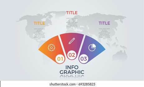 infographic element vector with three number options, can be used for step, workflow, diagram, banner, process, business presentation template, semicircle shape, light theme.