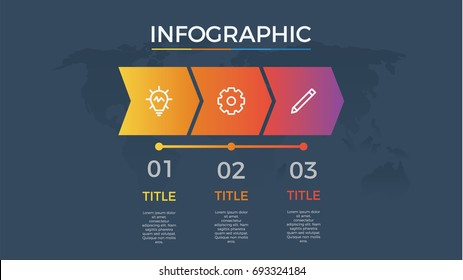 infographic element vector with three number options, can be used for step, workflow, diagram, banner, process, business presentation template, timeline, arrow shaped, dark theme.