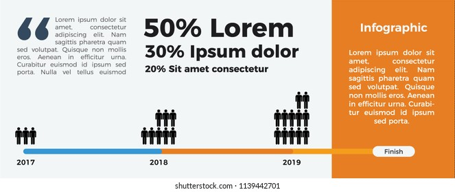 Infographic Element Vector for timeline and population. 3 years report. to finish.