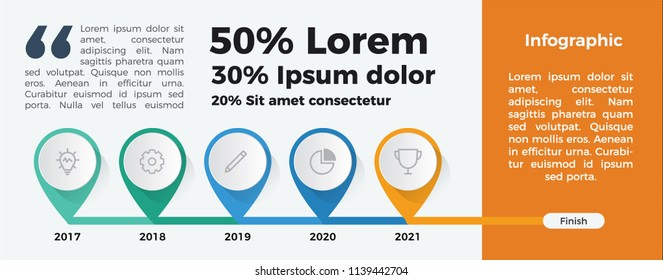 Infographic element vector for timeline and workflow. 5 years report. to finish.
