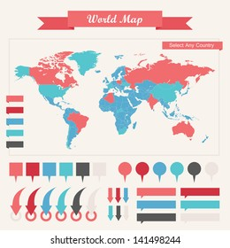 World map flags images stock photos vectors shutterstock infographic elements gumiabroncs Images