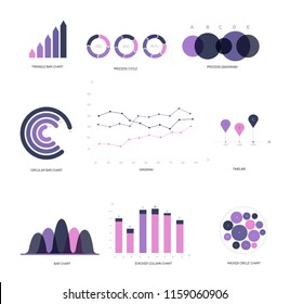 Infographic Elements, Annual Presentation Vector Set. Pink, Purple Female Trendy Data Visualisation Design. Big Data Diagram, Path, Target Circle Chart. Statistics Ads Infographic Elements