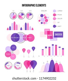 Infographic Elements, Annual Presentation Vector Set. Pink, Purple Female Funky Data Visualisation Design. Big Data Diagram, Path, Target Circle Chart. Statistics Poster Infographic Elements