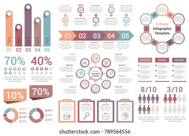 Infographic elements - bar graphs, human infographics, pie charts, steps and options, workflow, percents, circle diagrams, timeline, vector eps10 illustration