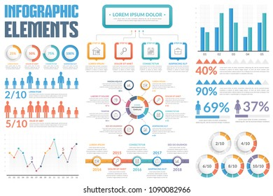 Infographic elements - bar and line charts, people infographics, diagrams, steps/options, round progress indicators, timeline, percents, vector eps10 illustration