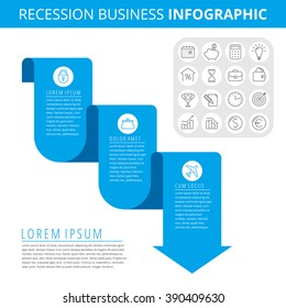 Infographic elements. Business design concept and isolated line icon set. Vector icons, recession chart. Flat blue downward arrow as a process of decrease business.
