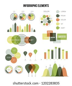 Infographic Elements, Business Presentation Vector Set. Brown, Green Graphic Statistics, Data Visualisation Design. Big Data Diagram, Path, Target Circle Chart. Education Poster Infographic Elements