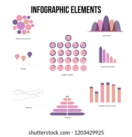 Infographic Elements, Business Presentation Vector Set. Pink, Purple Female Trendy Data Visualisation Design. Data Set Diagram, Path, Target Circle Chart. Statistics Website Infographic Elements