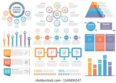 Infographic elements - circle diagrams, timeline, bar graphs, pyramid chart, steps, options, vector eps10 illustration