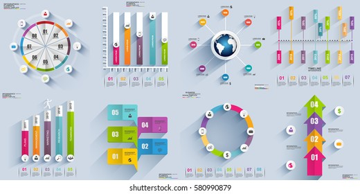 Infographic elements data visualization vector design template. Business concept with 4, 5 and 8 options, steps or processes, workflow layout, diagram, timeline, marketing icons, info graphics.