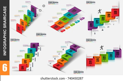 Infographic elements data visualization vector design template. Business concept with 5 options, steps or processes, workflow, stair success, diagram, annual report, marketing icons, info graphics.
