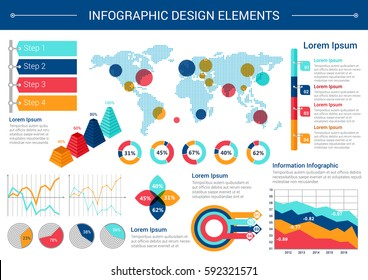 Infographic elements design. World map with pointers, pie chart, line graph, step diagram with option tags, stacked pyramid chart with percent visualization and text layouts. Business themes design