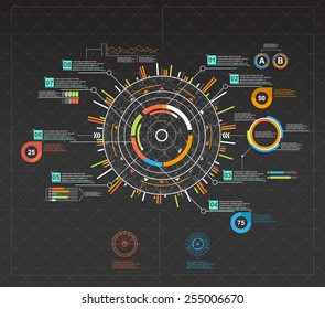 infographic elements. HUD UI for business app. Futuristic user interface. Abstract virtual graphic touch user interface. UI hud infographic interface screen monitor set web elements.
