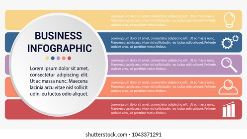 Infographic elements, icons filled with colors, stripes with text sample, and headline, vector illustration, isolated on white background