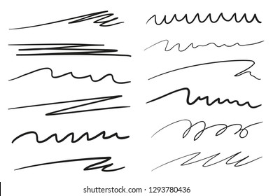 Infographic elements isolated on white. Set of different sketchy shapes and underlines elements. Array of lines. Stroke chaotic backdrops. Hand drawn patterns. Black and white illustration