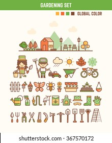 infographic elements for kids about gardening  including characters and icons