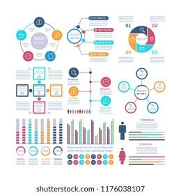Infographic elements. Modern infochart, marketing chart and graphs, bar diagrams. Option process graph for internet report vector set. Infochart and graph information, data graphic illustration