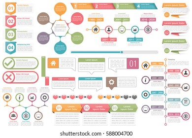 Infographic elements - objects with numbers amd text, timeline infographics, check and cross symbols, circle diagram, speech bubbles, process charts infographics, vector eps10 illustration