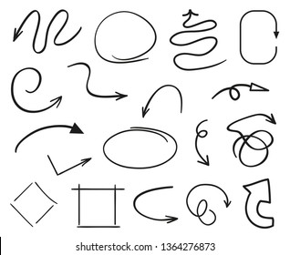 Infographic elements on isolated white background. Hand drawn simple arrows. Line art. Set of different geometric shapes. Abstract indicators. Black and white illustration. Doodles for artwork