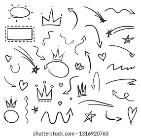 Infographic elements on isolation background. Collection of arrows on white. Signs for design. Hand drawn simple crowns. Line art. Abstract circles. Doodles for work