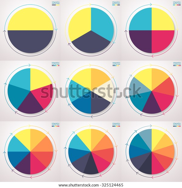 Éléments infographiques. Graphiques à secteurs avec des flèches de ligne minces. Ensemble de graphiques à secteurs plats avec 2, 3, 4, 5, 6, 7, 8, 9, 10 étapes, options, pièces, processus. Image vectorielle modèles d'entreprise pour la présentation.