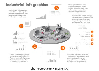 Infographic elements for presentation building 3D industry construction of isometric  flat design with urban landscape and industrial factory buildings and vector infograph set