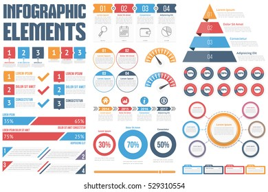 Infographic Elements - process infographics, steps and options, circle diagram, workflow diagrams, timeline infographics, pyramid infographics, percents visualization, vector eps10 illustration