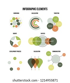 Infographic Elements, Report Presentation Vector Set. Brown, Green Graphic Statistics, Data Visualisation Design. Data Set Diagram, Path, Target Circle Chart. Vintage Education Infographic Element