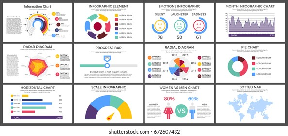 Infographic Elements Set - Business Vector Illustration in flat design style for presentation, booklet, website, presentation etc. Isolated on white background.